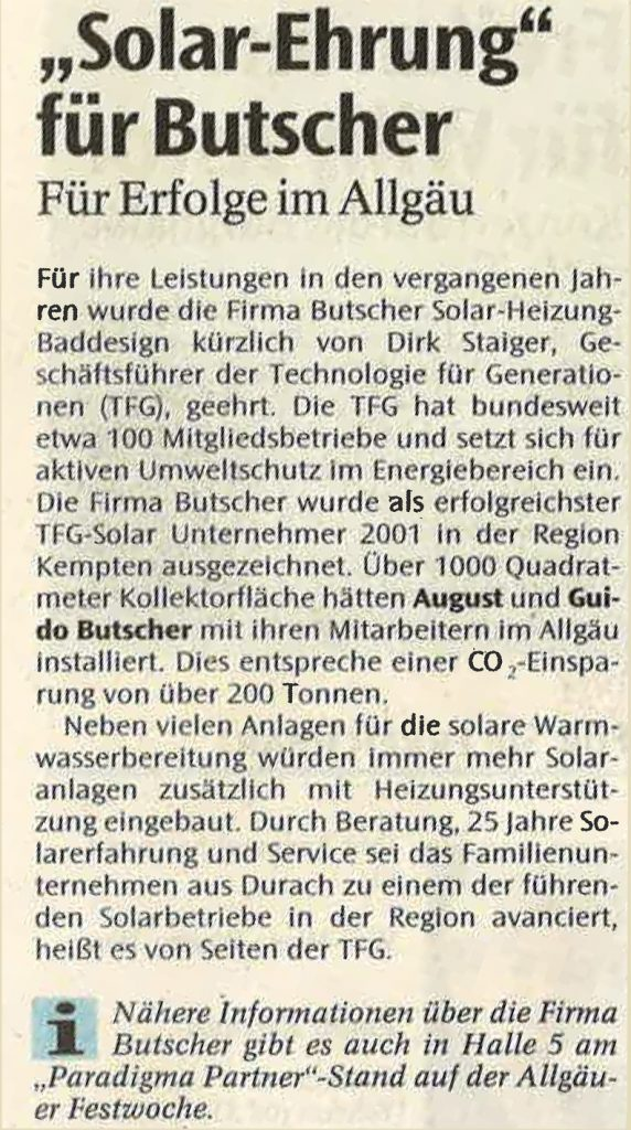 Solar-Ehrung für Butscher